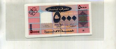 Lebanon 5000 Livres 2008 5 Consecutively Numbered Currency Notes 1579E