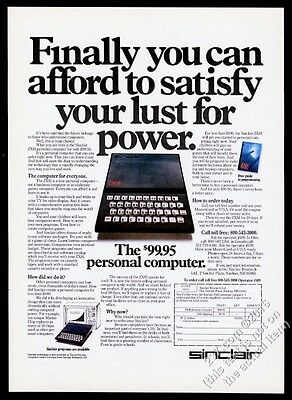 1982 Sinclair ZX81 computer photo Satisfy Your Lust For Power vintage print ad