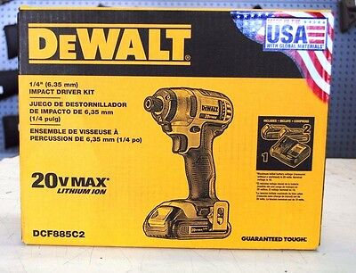 "NEW!! DeWALT DCF885C2 20V MAX Lithium-Ion 1/4"" Impact Driver Kit"