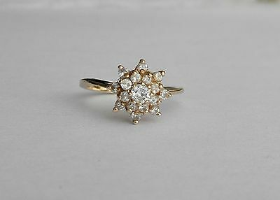 Vintage Diamond Flower Cluster Ring in 14K Yellow Gold~~Ring Size 7 1/8