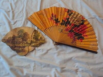 2 Vintage Fans ~ Hand-Held, Fold Out, Country Scene, Flowers  Ad phone is 19 !