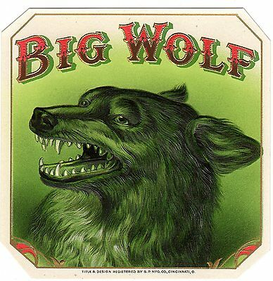 Cigar Box Label Vintage Outer Chromolithography Big Wolf Original 1910S Embossed