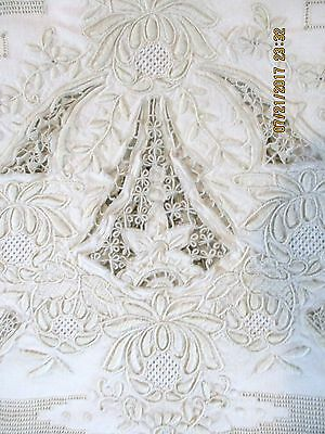 ANTIQUE MADEIRA Hand Embroidered CUTWORK Linen TABLECLOTH 12 NAPKINS ELABORATE