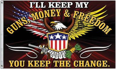 Freedom First Flags CPS36681 Guns Money & Freedom 3' x 5' Polyester Flag