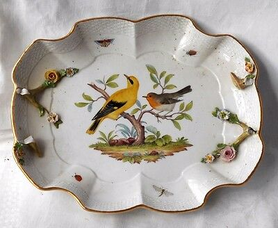 Early C19Th Meissen Dish  With Hand Painted Birds Moulded Basket Weave Border