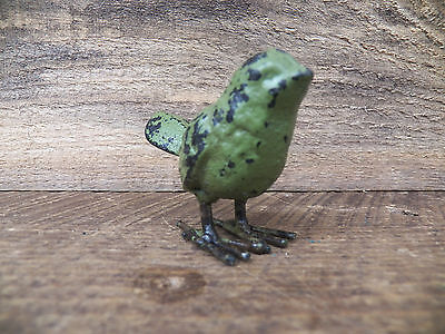 "Small Rustic Primitive 2"" CAST IRON CHICK Peep Spring Bird Chippy Avocado Green"