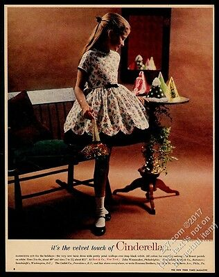 1960 Cinderella girl's flower dress photo vintage fashion print ad