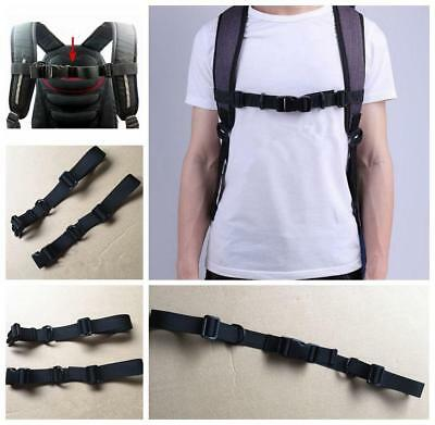 Adjustable Polyester Backpack Webbing Sternum Strap Chest Harness Buckle Clip LG