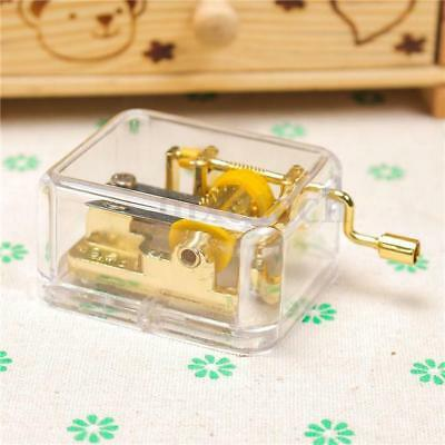 Play Many Songs! New Clear Hand Crank Hurdy Gurdy Music Box Birthday Gifts LG