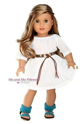 White Dress + Belt + Teal Shoes for 18 inch American Girl Doll clothes