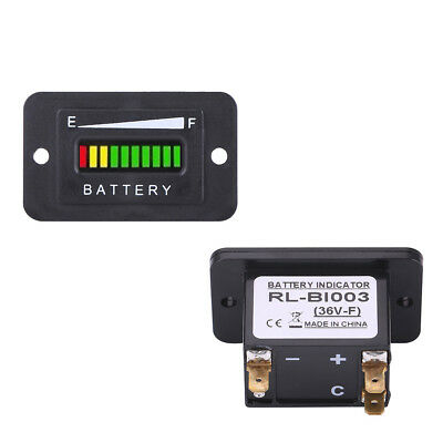 36V LED Digital Battery Indicator Meter Gauge For Car Golf Cart RV Boat Black DY
