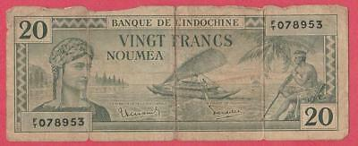 1944 New Caledonia 20 Franc Note