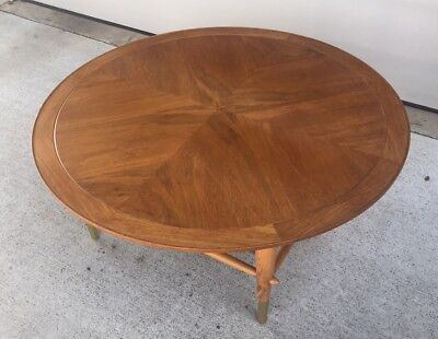 Gorgeous Vintage Lane Round Danish Walnut Mid Century Coffee Table Brass 38""