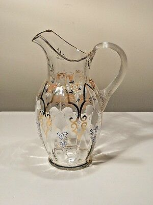 Hand Blown Victorian Pitcher Optic With Ribbed Handle And Gold And Enamel Decora
