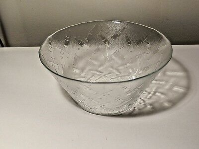 Large Coca Cola Clear Glass Embossed Bowl Excellent