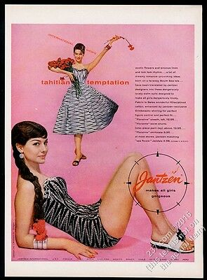 1956 Jantzen women's swimsuit & dress woman color photo vintage print ad