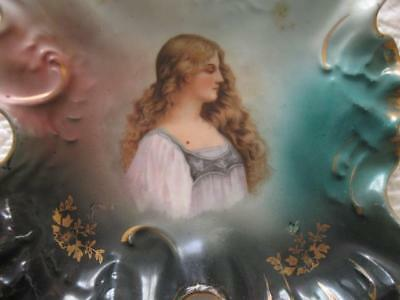 Antique Portrait Of A Lady Plate Dish Tray-Victoria Austria-Numbered-Pretty