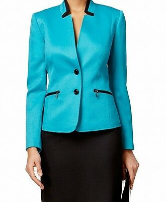 Tahari By ASL NEW Blue Women's Size 12 Contrast Two Button Blazer $99- #203