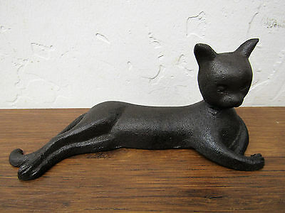 """Lounging Stylized Regal Rustic Primitive 6 1/2"""" x 2 3/4"""" Cast Iron Cat Kitty"""