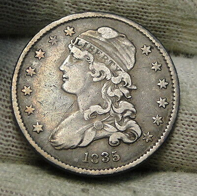 1835 Capped Bust Quarter 25 Cents - Nice Coin, Free Shipping. (6129)