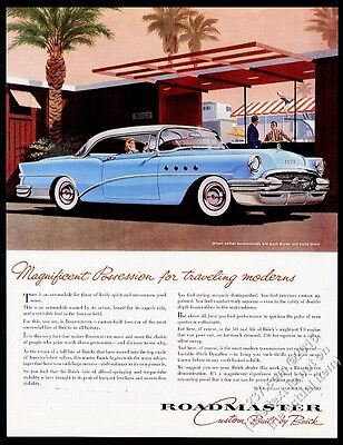 1955 Buick Roadmaster coupe sky blue car illustrated vintage print ad