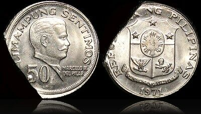 1971 Philippines 50 Sentimos Double Error ~ Ragged Clip & Out of Collar Strike