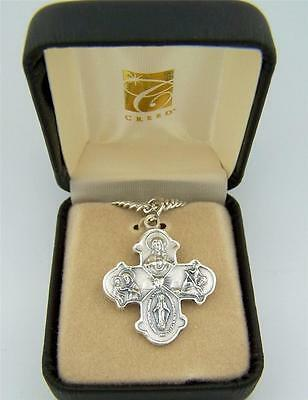 """Mens Fine Brushed Silver 1 1/4"""" Four Way Trinity Edge Scapular Cross Medal w Box"""