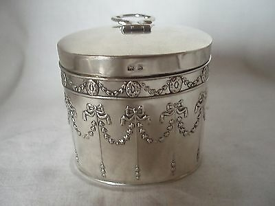 Tea Caddy Edwardian Sterling Silver Birmingham 1909
