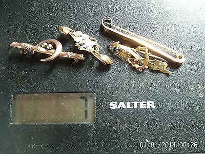 ANTIQUE FULLY HALLMARKED 9ct GOLD BROOCHES SCRAP/REPAIR 7 GRAMS
