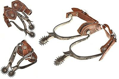 """Vintage Fancy Engraved Silver Spurs Handmade Arizona Collectible """" Artist Signed"""