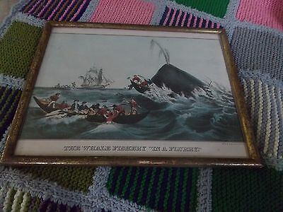 "Vintage Framed CURRIER & IVES print of THE SPERM WHALE ""IN A FLURRY"""