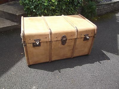 Antique Steamer Luggage Banded Chest