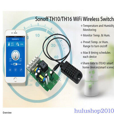 Sonoff 16A Pow Detect WIFI Smart Switch Socket Temperature&Humidity Remote Tool