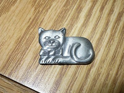 Cute Miniature Pewter Cat Refrigerator Magnet