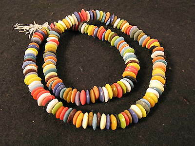 1 Strang Pulverglasperlen Spacer 9mm Mix B Colours Ghana Powder Glass Beads