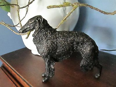 Vintage Borzoi Russian Wolfhound Dog Figure Bronze colored metal