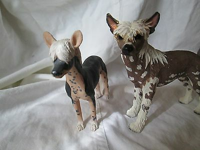 Set of 2 Chinese Crested Hairless Dog Figures Figurines Statue