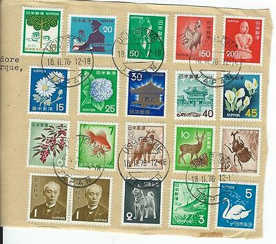 Collection Of 20 Japan Stamps On Sheet (Used)  Light Cancells