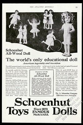1917 Schoenhut toys wood doll 8 models photo Christmas vintage print ad