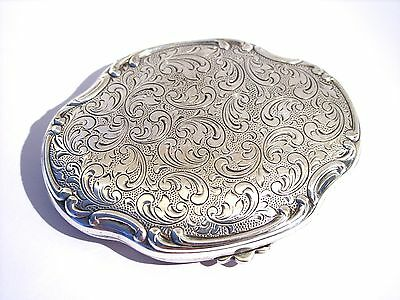 Vintage Antique Silver Plated? Rococo Style Repousse Powder Compact