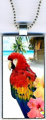 "Parrot Hibiscus Tropical Stylish Rectangular Pendant Charm Necklace 24"" Chain NE"