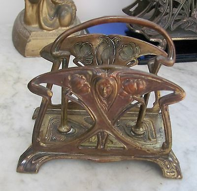 VICTORIAN Orig *ART NOUVEAU c1890s Brass DESK LETTER HOLDER Lady Face & Flowers