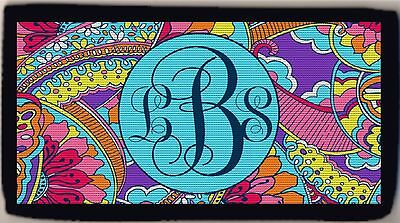 Personalized Custom Monogrammed Floral Optical Colorful Design Check Cover NEW