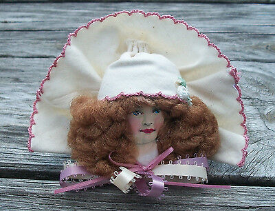Vintage Christmas VICTORIAN LADY ORNAMENT w Hair Flower Pink Trim Cloth Fabric