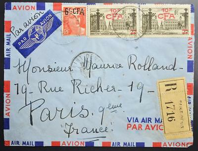 Isle REUNION/CFA Africa 1960s Provs on Reg-Airmail Cover St DENIS to FRANCE
