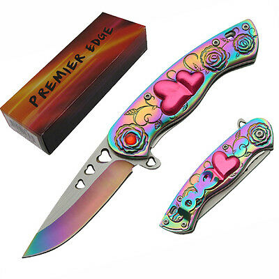 "CUPID LOVE Spring Assisted Folding KNIFE - Hearts Roses Rainbow 6 7/8"" Overall"