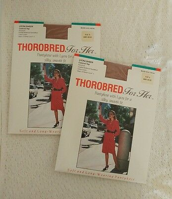 Thorobred For Her Vintage '80s Sheer Control Top Pantyhose Size B Warm Beige NEW