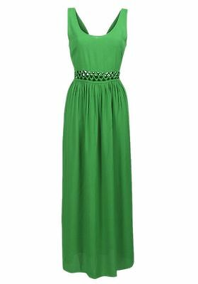 New Womens ladies topshop gorgeous green long sleeveless maxi dress size 8