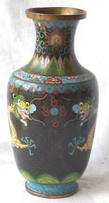 C19Th Chinese Cloisonne Vase Decorated With Dragons