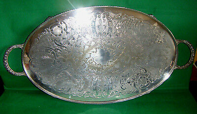 vintage VINERS SHEFFIELD SIlver plated OVAL SERVING TRAY chased BALL & CLAW FEET